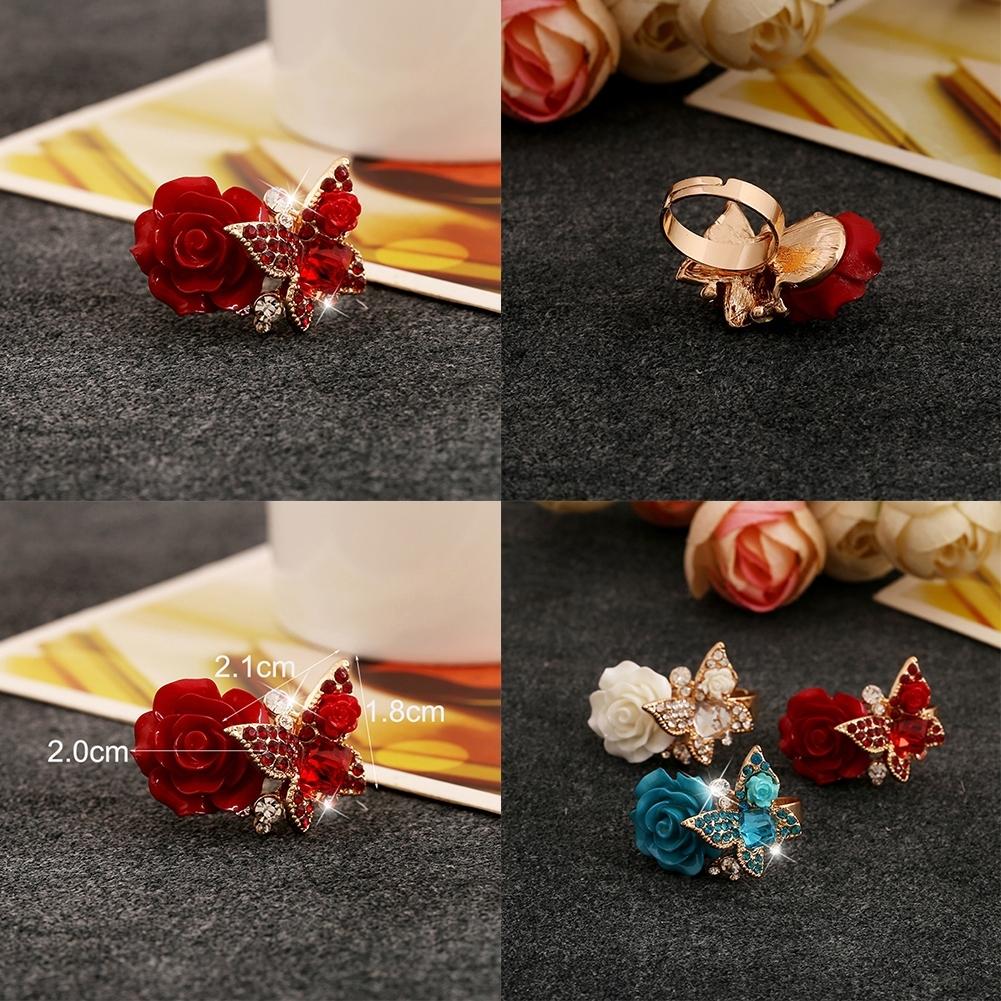 1pcs Women's Rose Flower Butterfly Resin Crystal Rhinestone Ring Adjustable GE01173 8