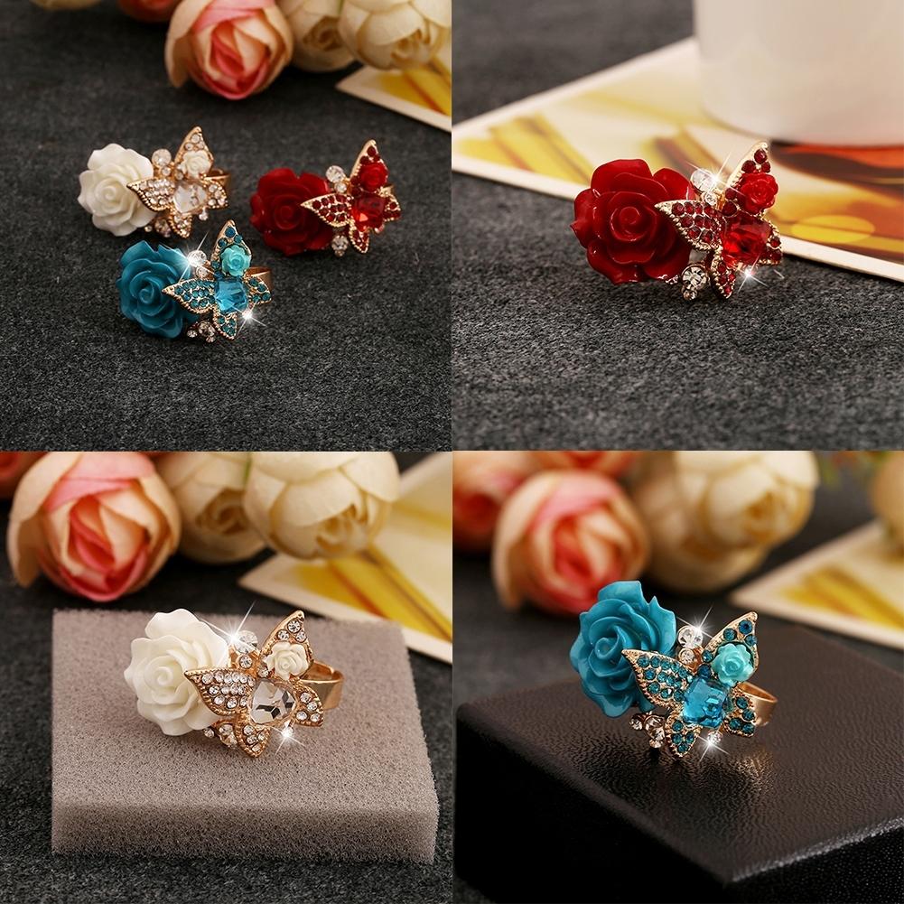 1pcs Women's Rose Flower Butterfly Resin Crystal Rhinestone Ring Adjustable GE01173 9