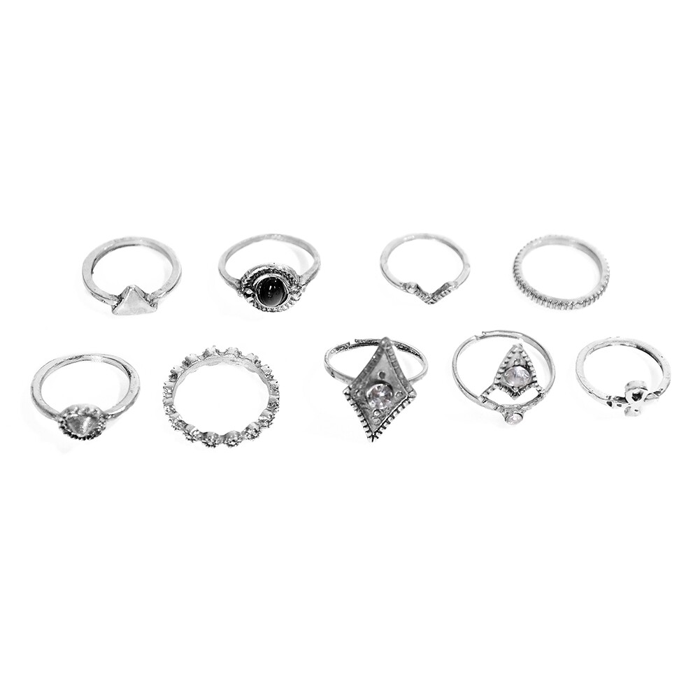 1set Fashion  Silver Color Infinity Midi Ring Sets for Women Boho Beach Vintage Turkish Punk Knuckle Lucky Rings JRC0216 3