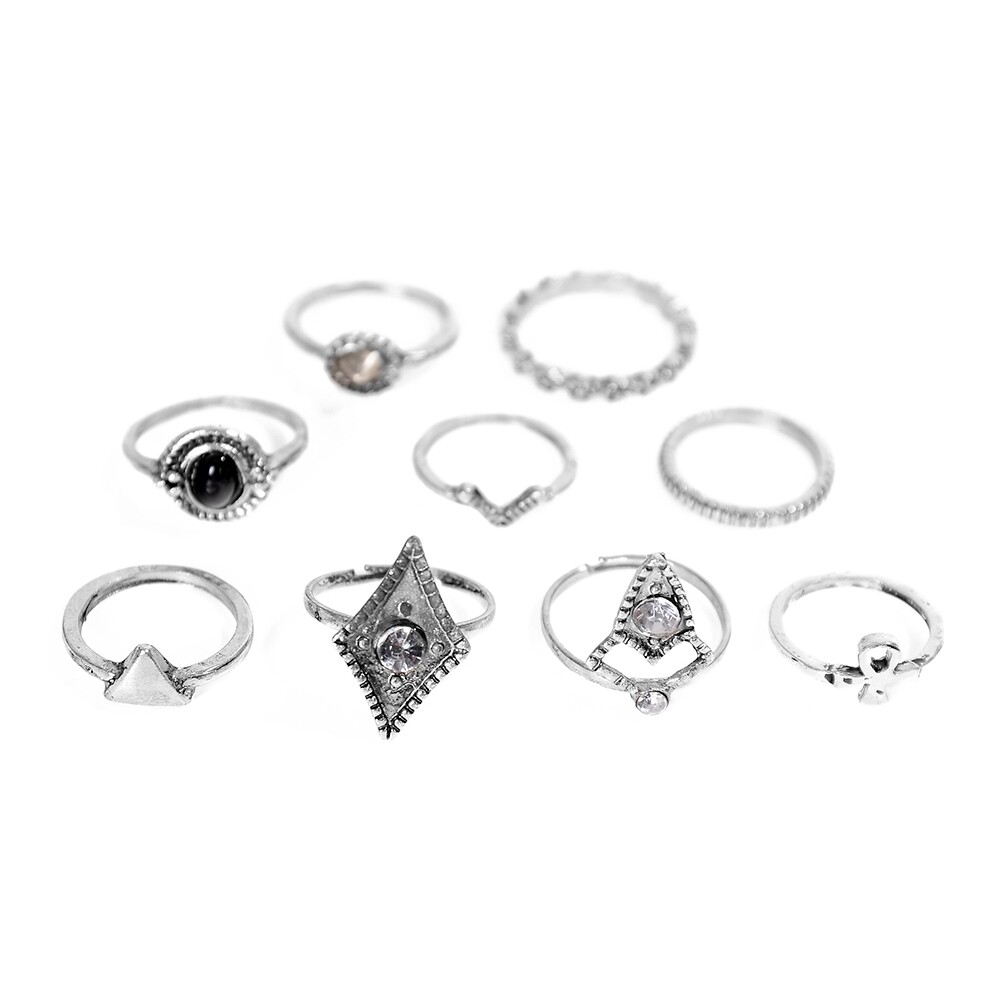 1set Fashion  Silver Color Infinity Midi Ring Sets for Women Boho Beach Vintage Turkish Punk Knuckle Lucky Rings JRC0216 2