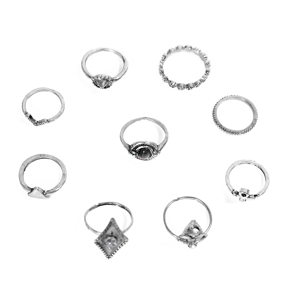 1set Fashion  Silver Color Infinity Midi Ring Sets for Women Boho Beach Vintage Turkish Punk Knuckle Lucky Rings JRC0216 4