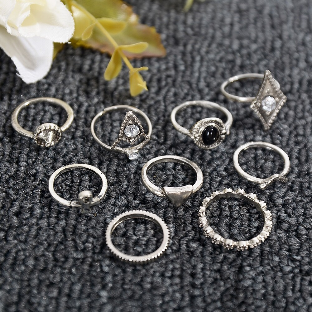 1set Fashion  Silver Color Infinity Midi Ring Sets for Women Boho Beach Vintage Turkish Punk Knuckle Lucky Rings JRC0216 1