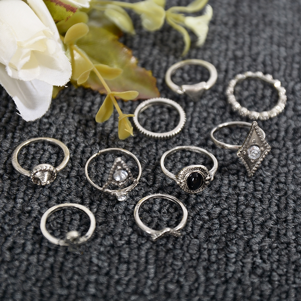 1set Fashion  Silver Color Infinity Midi Ring Sets for Women Boho Beach Vintage Turkish Punk Knuckle Lucky Rings JRC0216 5