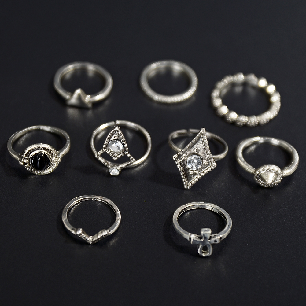 1set Fashion  Silver Color Infinity Midi Ring Sets for Women Boho Beach Vintage Turkish Punk Knuckle Lucky Rings JRC0216 0