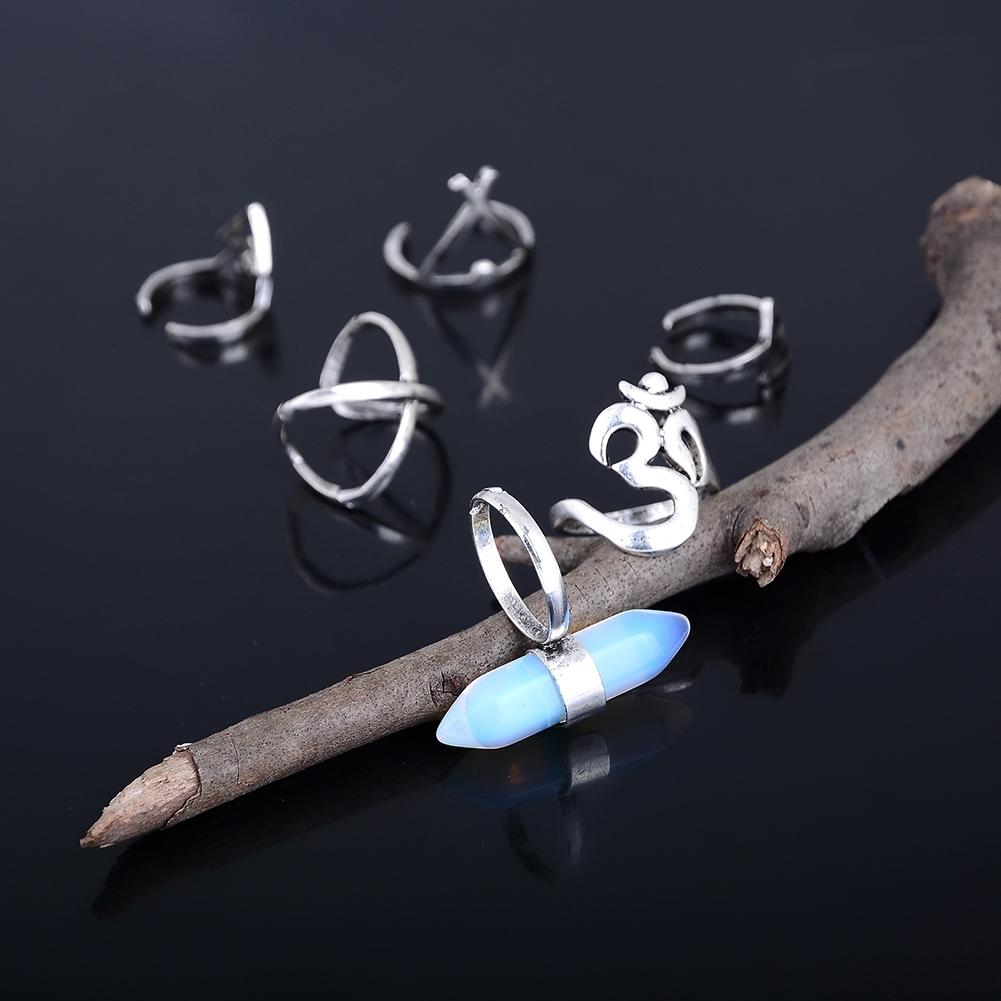 1set Boho Bohemian Turquoise Knuckle Midi Ring Set Turkish Retro Finger Rings For Women Jewelry GE01066 2