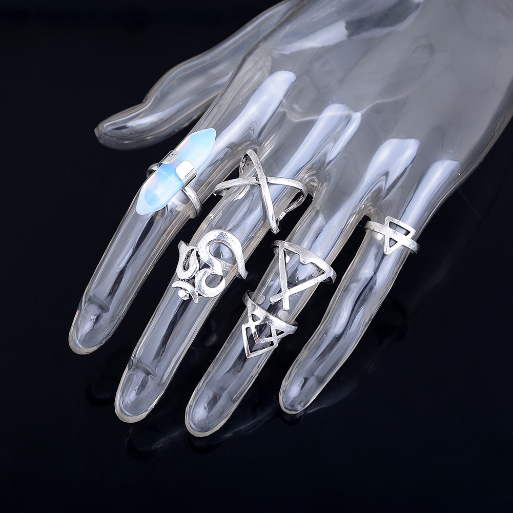1set Boho Bohemian Turquoise Knuckle Midi Ring Set Turkish Retro Finger Rings For Women Jewelry GE01066 5