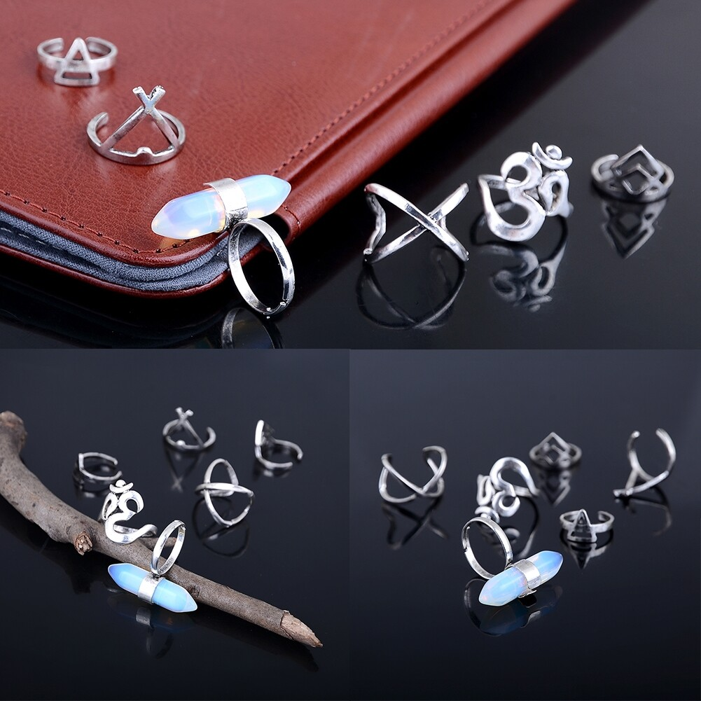 1set Boho Bohemian Turquoise Knuckle Midi Ring Set Turkish Retro Finger Rings For Women Jewelry GE01066 4
