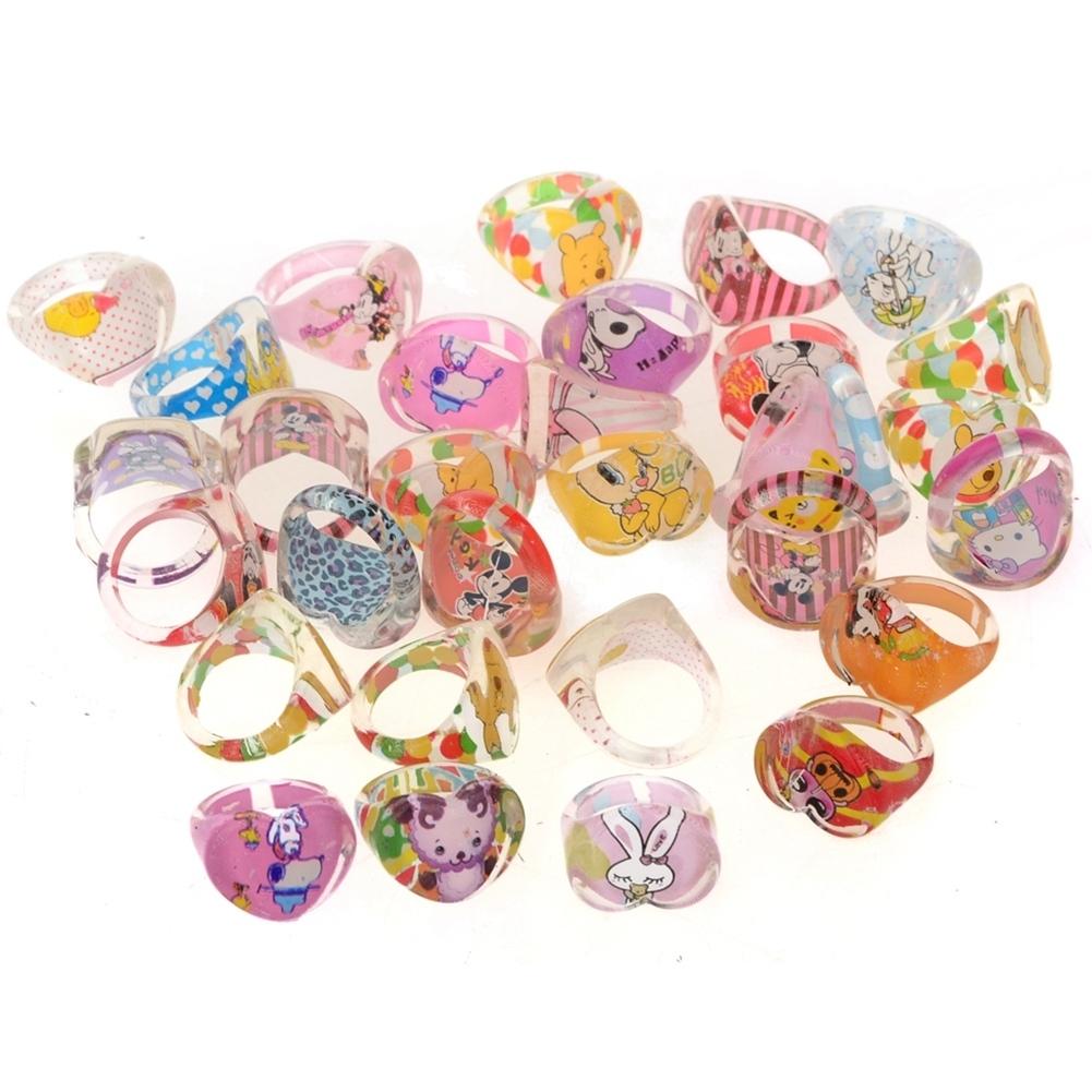 5Pcs Kids Heart Shaped Resin Plastic Cartoon Rings KR17 3