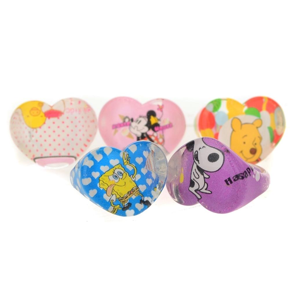 5Pcs Kids Heart Shaped Resin Plastic Cartoon Rings KR17 4