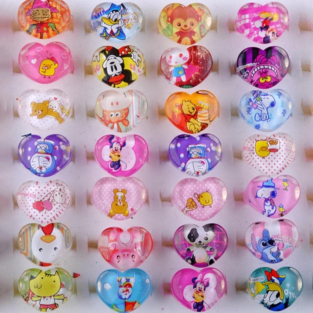 5Pcs Kids Heart Shaped Resin Plastic Cartoon Rings KR17 0