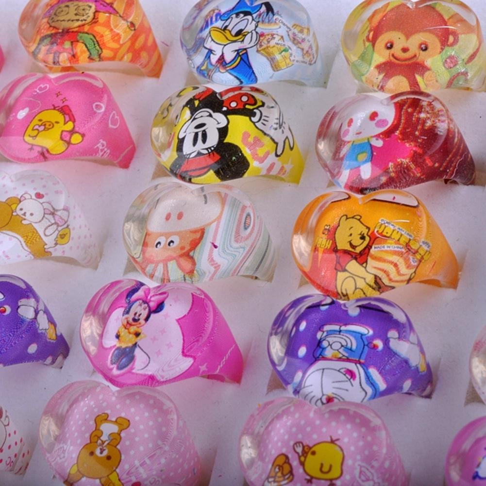 5Pcs Kids Heart Shaped Resin Plastic Cartoon Rings KR17 5