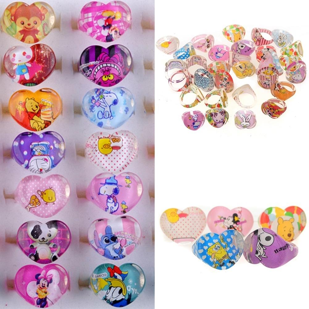 5Pcs Kids Heart Shaped Resin Plastic Cartoon Rings KR17 7