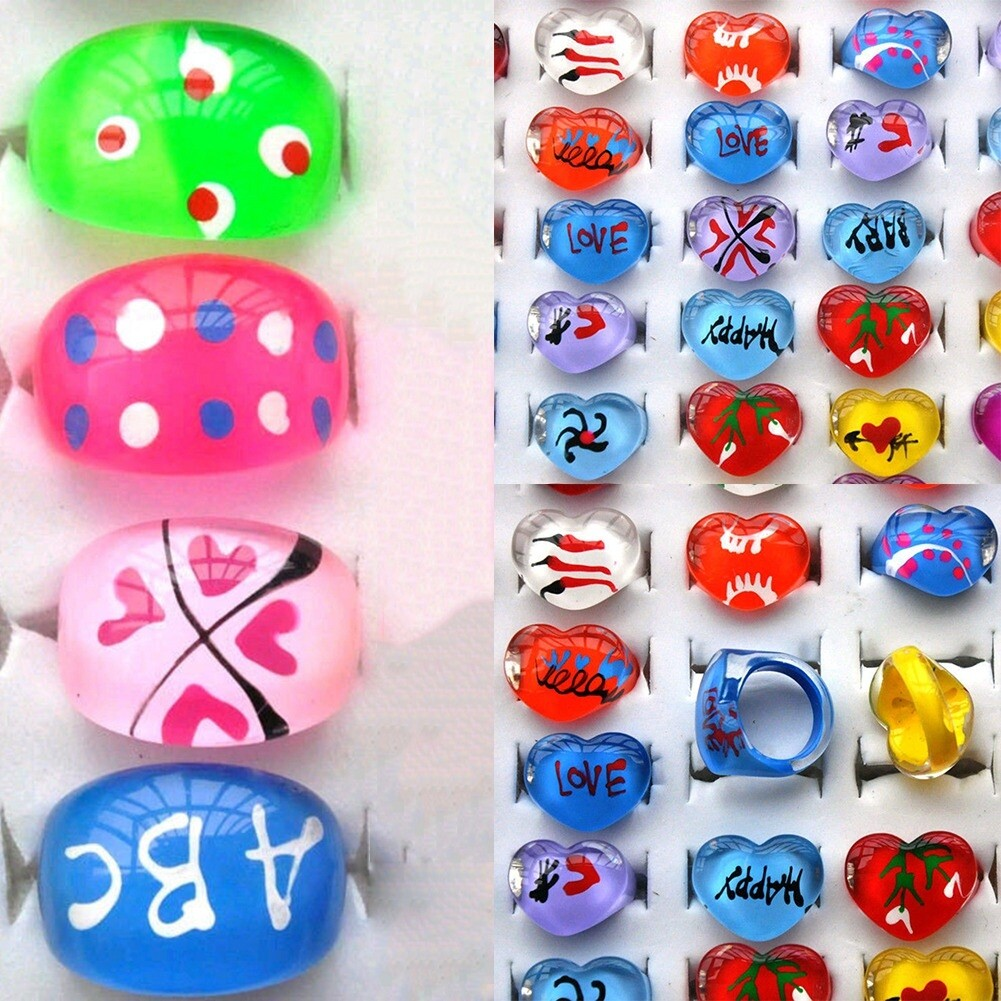 Wholesale mix lot 5pcs cartoon Polymer clay children Rings NEW fashion free shipping KR09 7