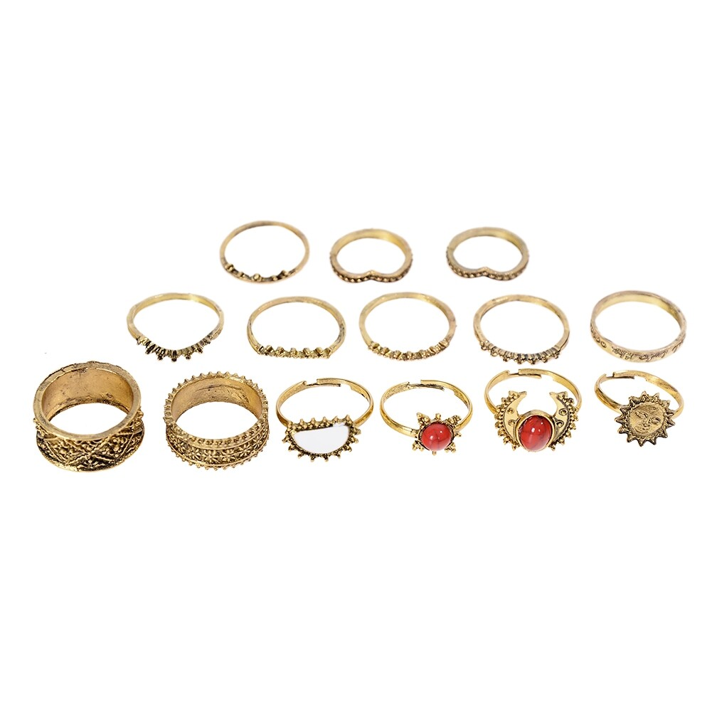 1 Set Antique Silver Color Moon Sun Ring Sets Women Carved Flower Red Stone White Beads Midi Finger Knuckle Rings JRC0221 2