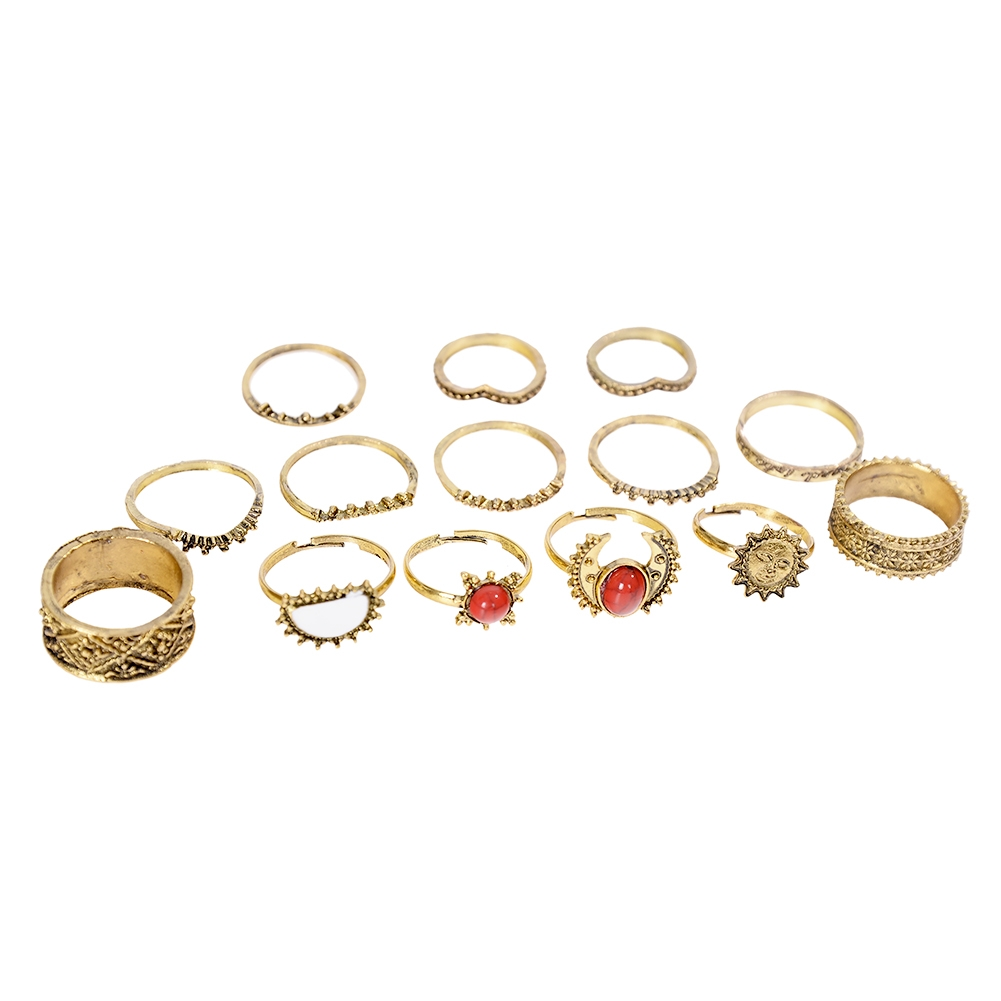 1 Set Antique Silver Color Moon Sun Ring Sets Women Carved Flower Red Stone White Beads Midi Finger Knuckle Rings JRC0221 3