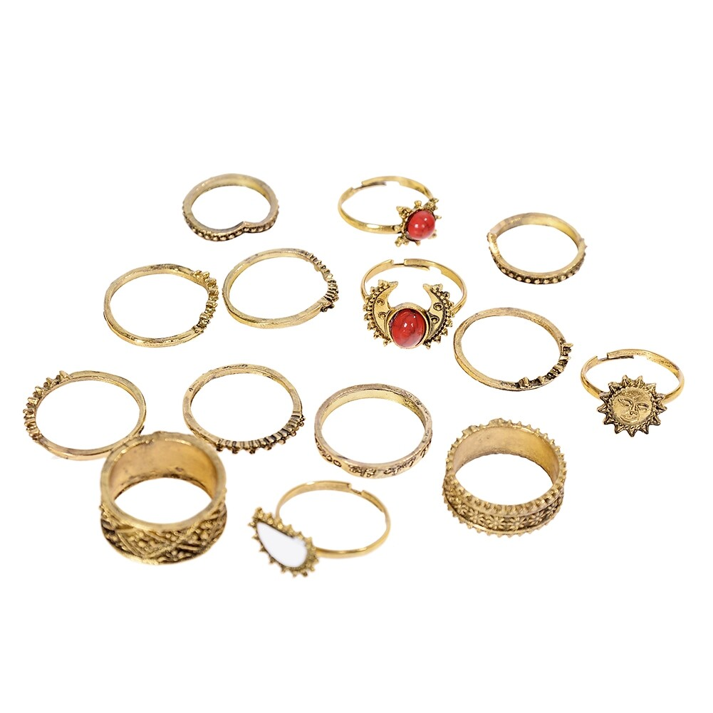 1 Set Antique Silver Color Moon Sun Ring Sets Women Carved Flower Red Stone White Beads Midi Finger Knuckle Rings JRC0221 4