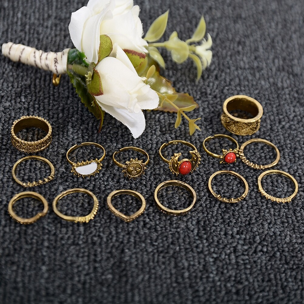 1 Set Antique Silver Color Moon Sun Ring Sets Women Carved Flower Red Stone White Beads Midi Finger Knuckle Rings JRC0221 5