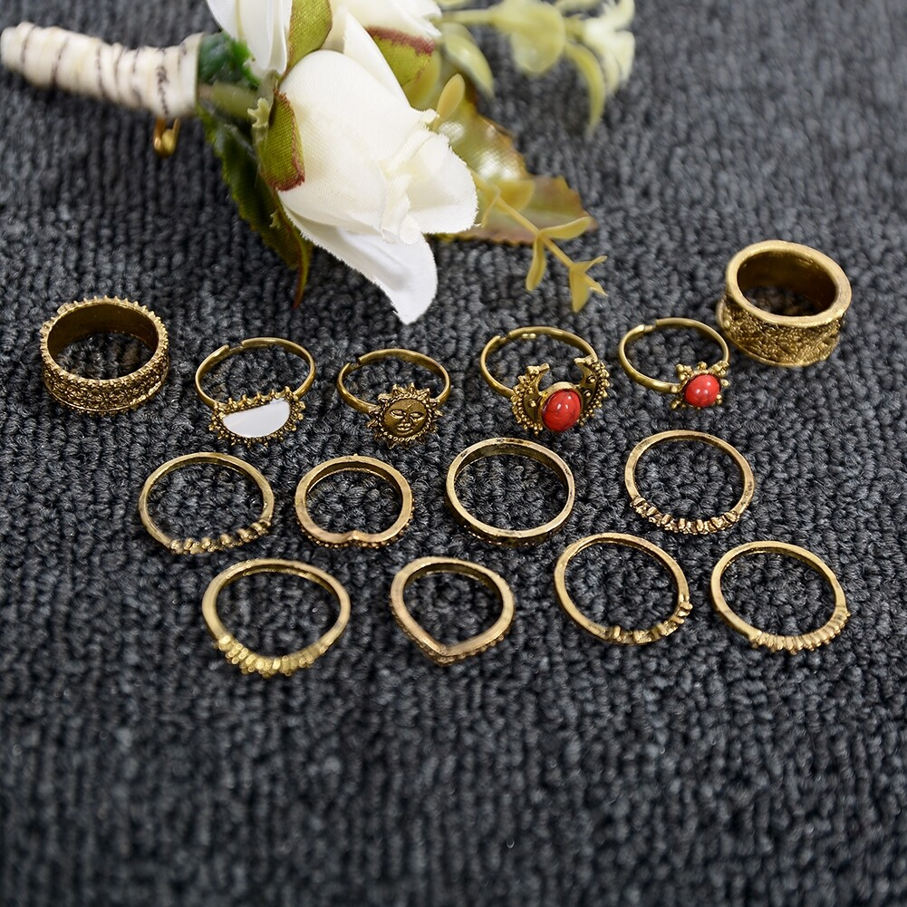 1 Set Antique Silver Color Moon Sun Ring Sets Women Carved Flower Red Stone White Beads Midi Finger Knuckle Rings JRC0221 6