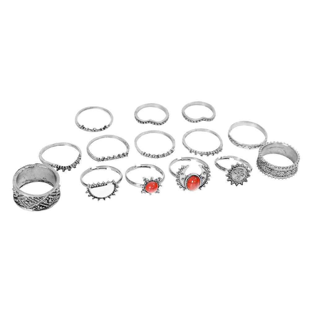 1 Set Antique Silver Color Moon Sun Ring Sets Women Carved Flower Red Stone White Beads Midi Finger Knuckle Rings JRC0221 10