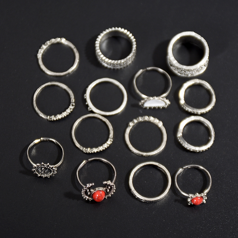 1 Set Antique Silver Color Moon Sun Ring Sets Women Carved Flower Red Stone White Beads Midi Finger Knuckle Rings JRC0221 13
