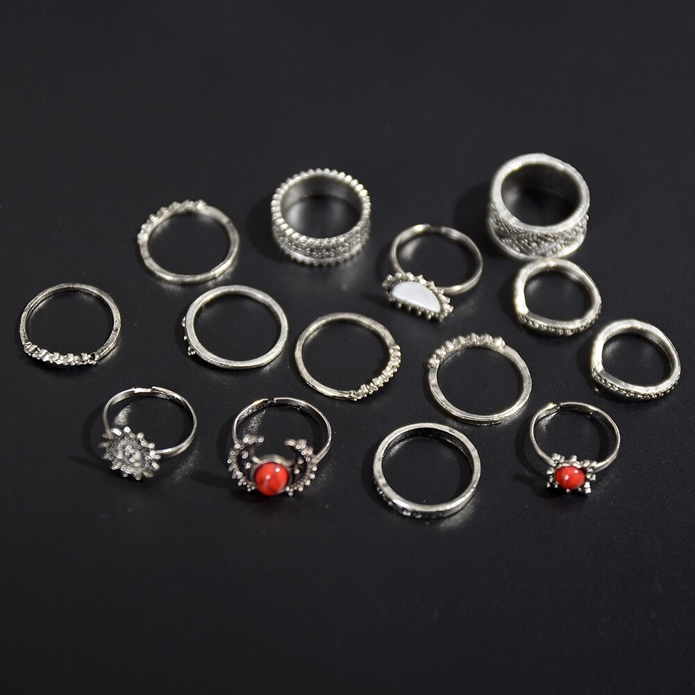 1 Set Antique Silver Color Moon Sun Ring Sets Women Carved Flower Red Stone White Beads Midi Finger Knuckle Rings JRC0221 14
