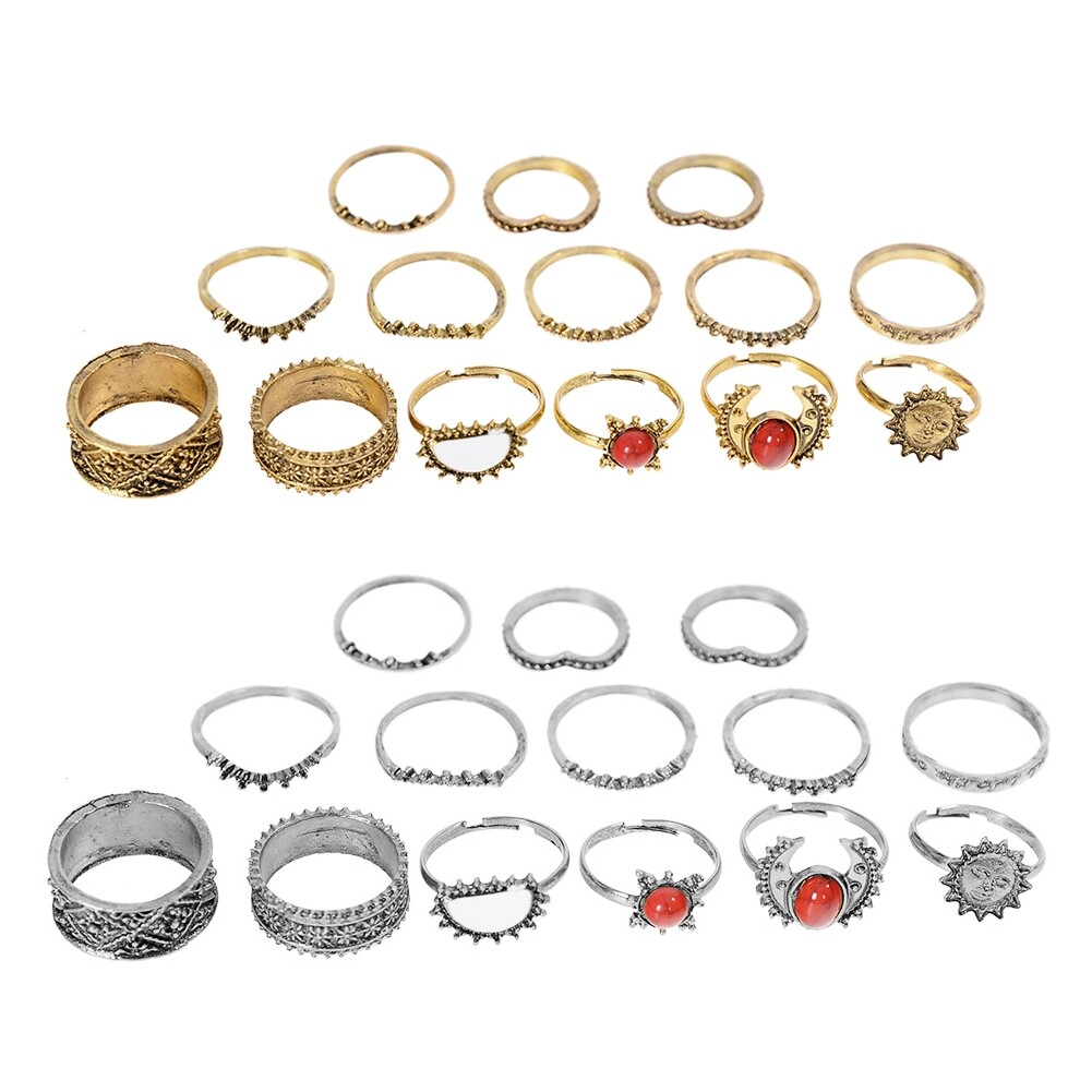 1 Set Antique Silver Color Moon Sun Ring Sets Women Carved Flower Red Stone White Beads Midi Finger Knuckle Rings JRC0221 0