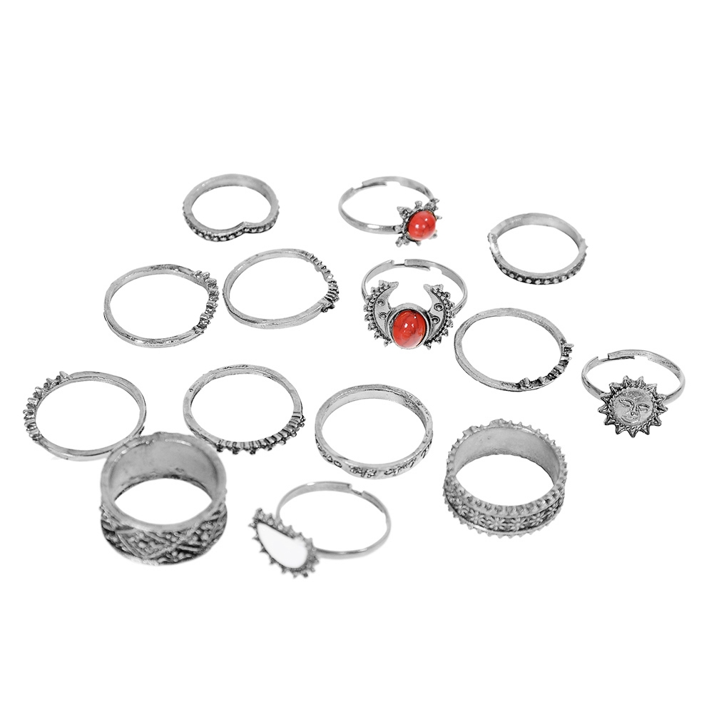 1 Set Antique Silver Color Moon Sun Ring Sets Women Carved Flower Red Stone White Beads Midi Finger Knuckle Rings JRC0221 11
