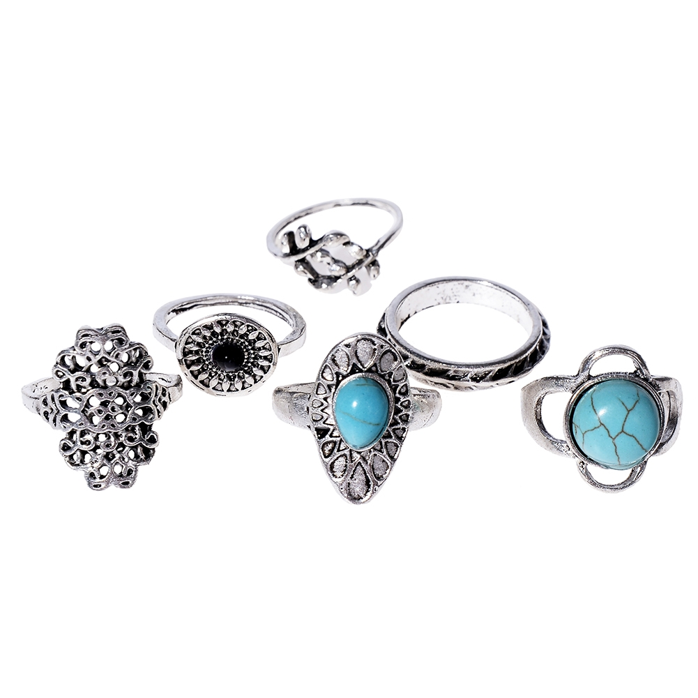 1Set Antique Silver Color Bohemian Midi Ring Set Vintage Steampunk Anillos Knuckle Rings For Women Boho Jewelry JRC0107 3