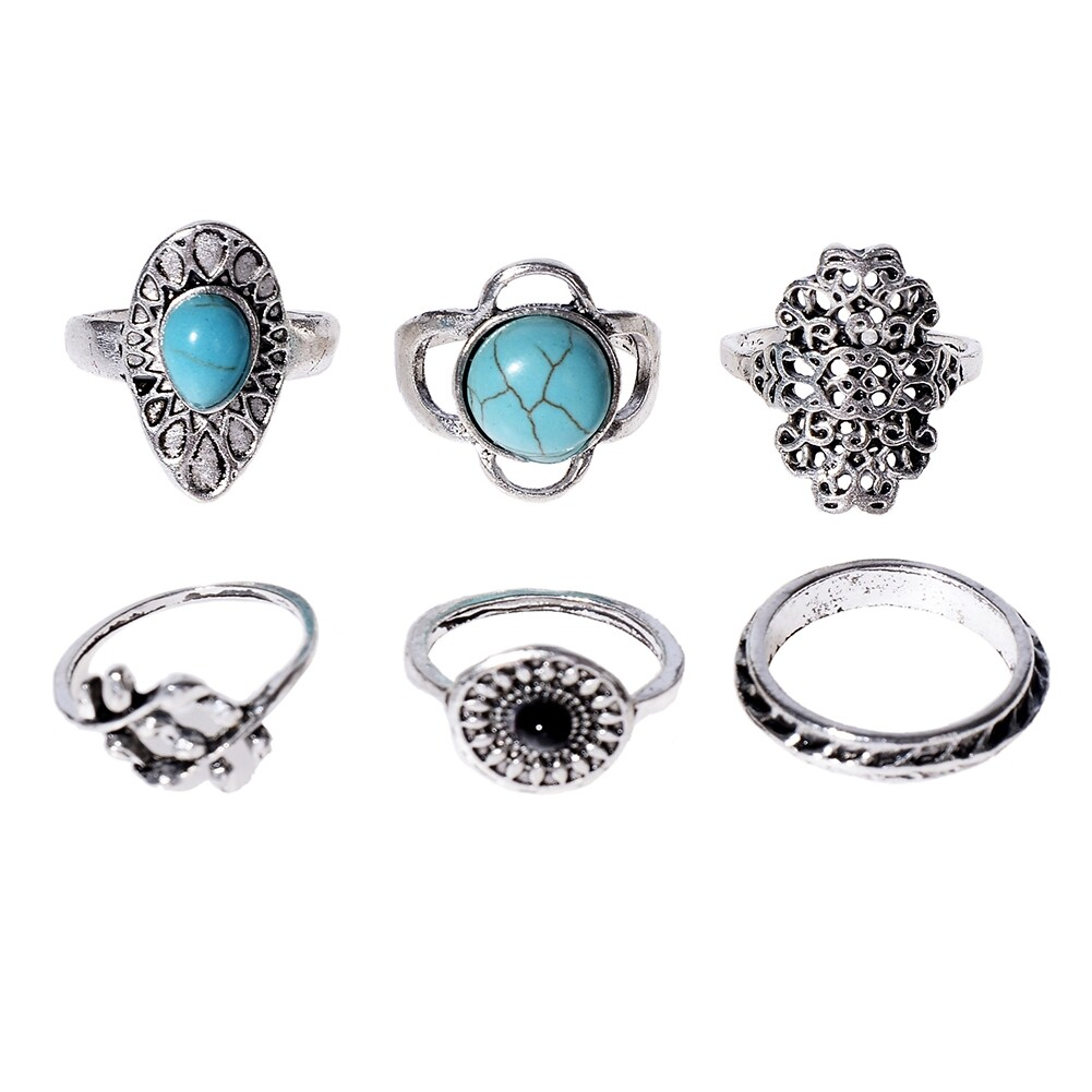 1Set Antique Silver Color Bohemian Midi Ring Set Vintage Steampunk Anillos Knuckle Rings For Women Boho Jewelry JRC0107 1