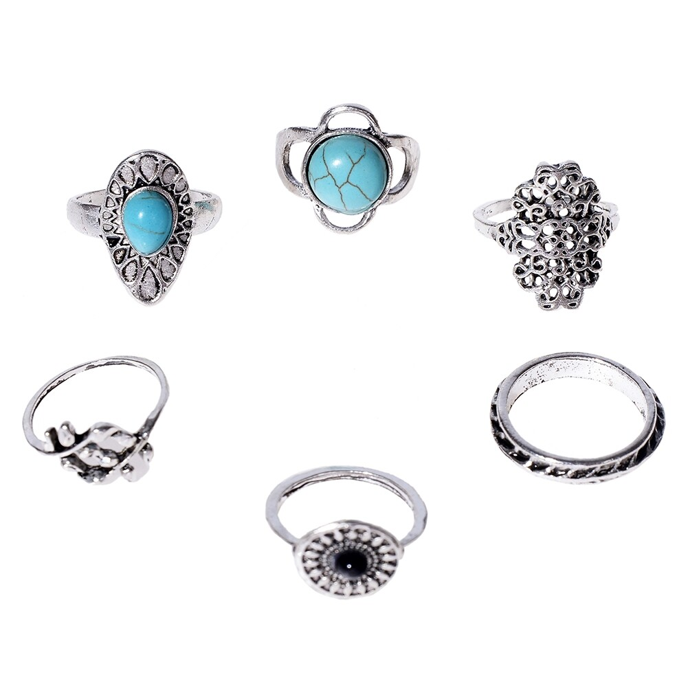 1Set Antique Silver Color Bohemian Midi Ring Set Vintage Steampunk Anillos Knuckle Rings For Women Boho Jewelry JRC0107 0