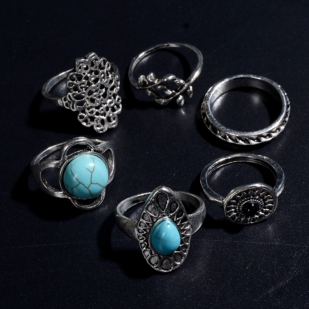 1Set Antique Silver Color Bohemian Midi Ring Set Vintage Steampunk Anillos Knuckle Rings For Women Boho Jewelry JRC0107 5