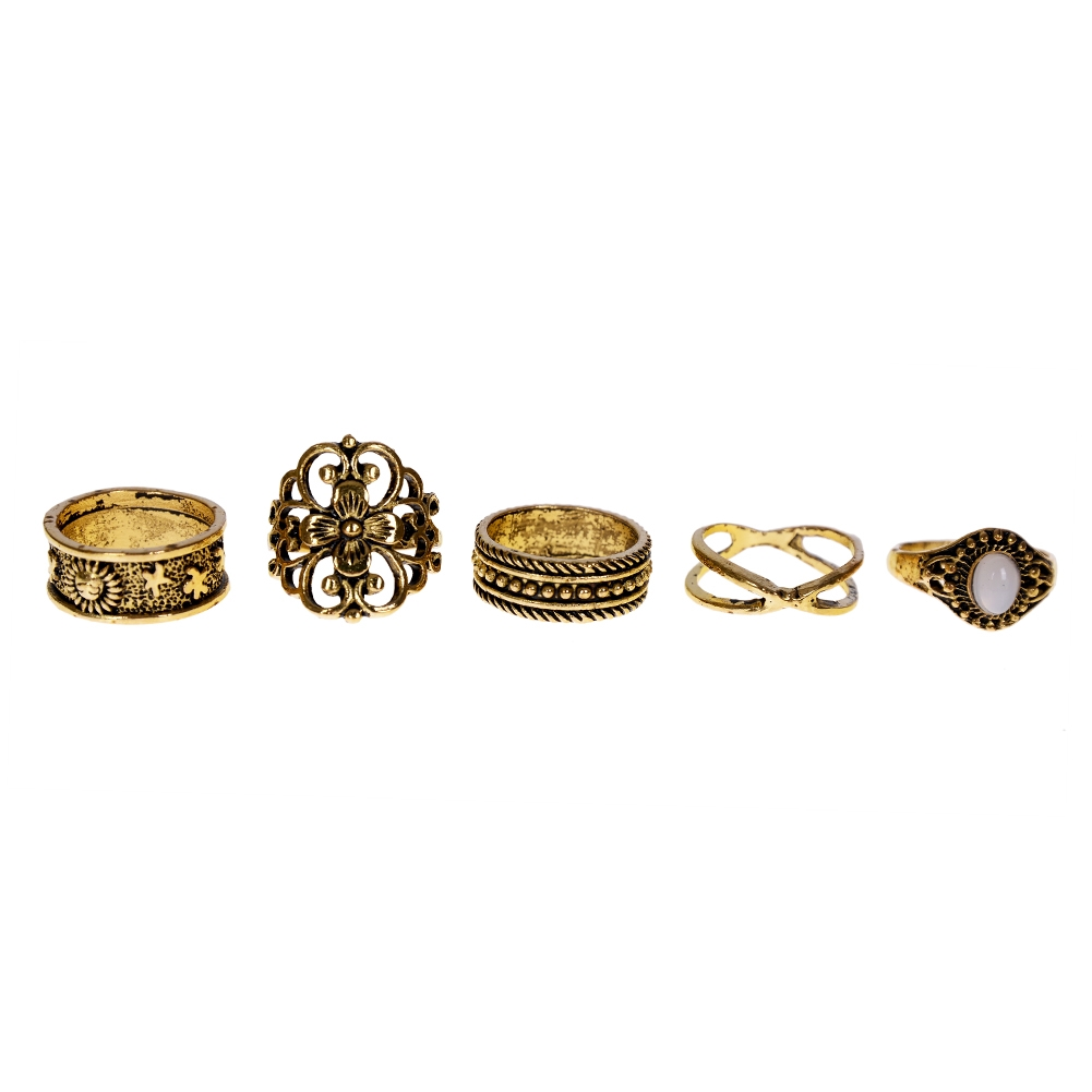 1 Set Gold Silver Knuckle Midi Finger Ring Set Vintage Plain Stack Hollow Flower Band Ring Retro Jewelry JRC0105 1