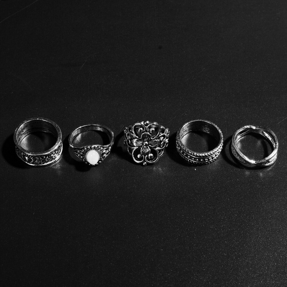1 Set Gold Silver Knuckle Midi Finger Ring Set Vintage Plain Stack Hollow Flower Band Ring Retro Jewelry JRC0105 10
