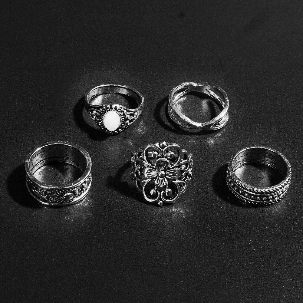 1 Set Gold Silver Knuckle Midi Finger Ring Set Vintage Plain Stack Hollow Flower Band Ring Retro Jewelry JRC0105 11