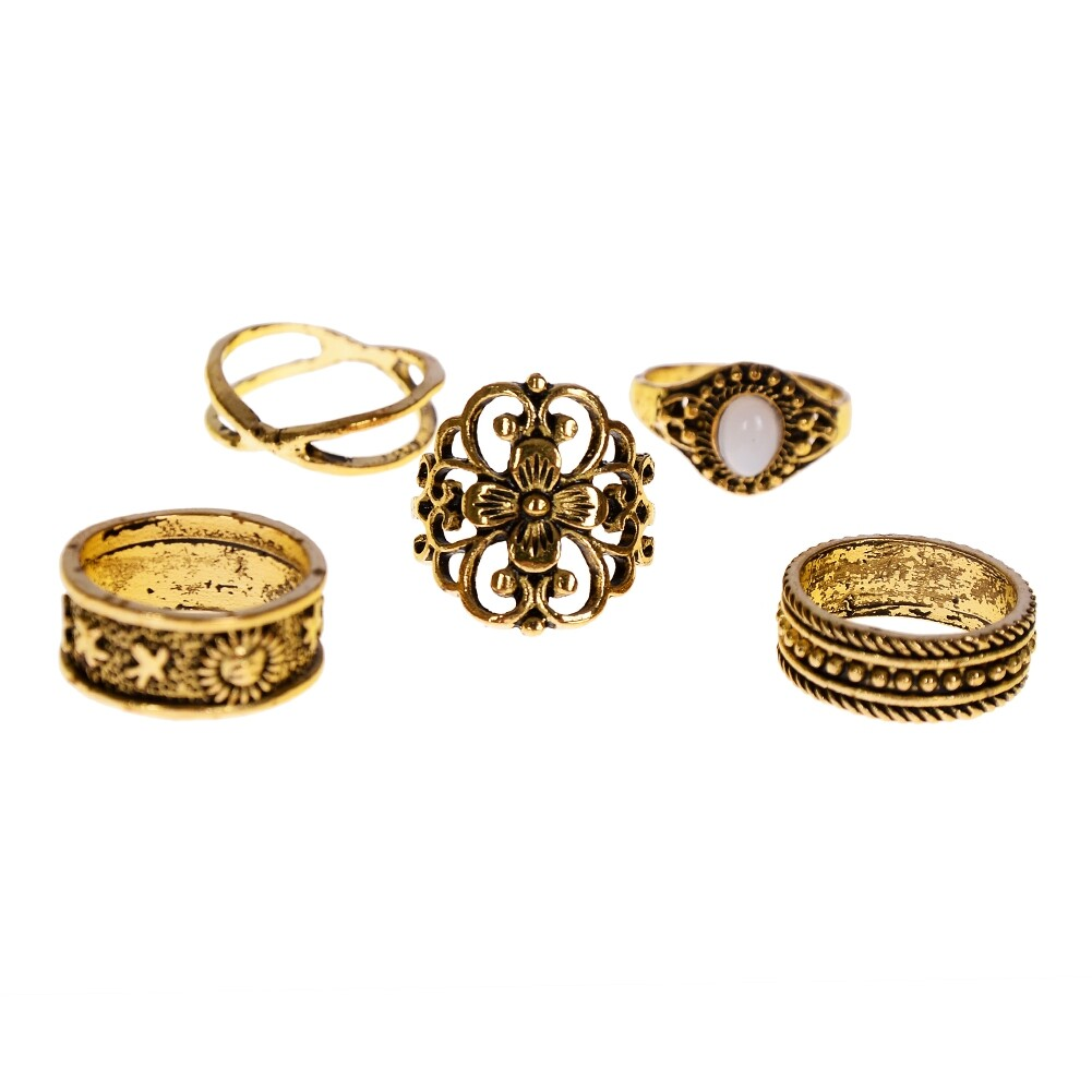 1 Set Gold Silver Knuckle Midi Finger Ring Set Vintage Plain Stack Hollow Flower Band Ring Retro Jewelry JRC0105 3