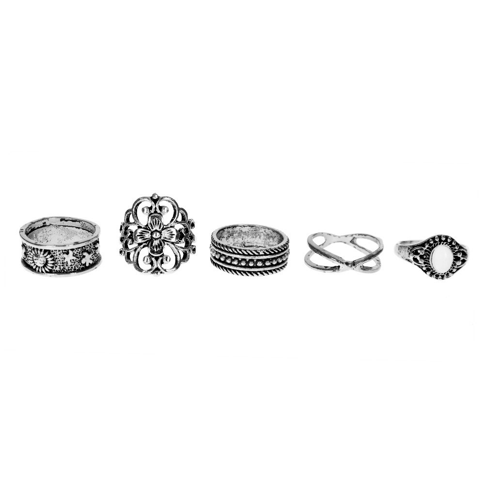 1 Set Gold Silver Knuckle Midi Finger Ring Set Vintage Plain Stack Hollow Flower Band Ring Retro Jewelry JRC0105 6