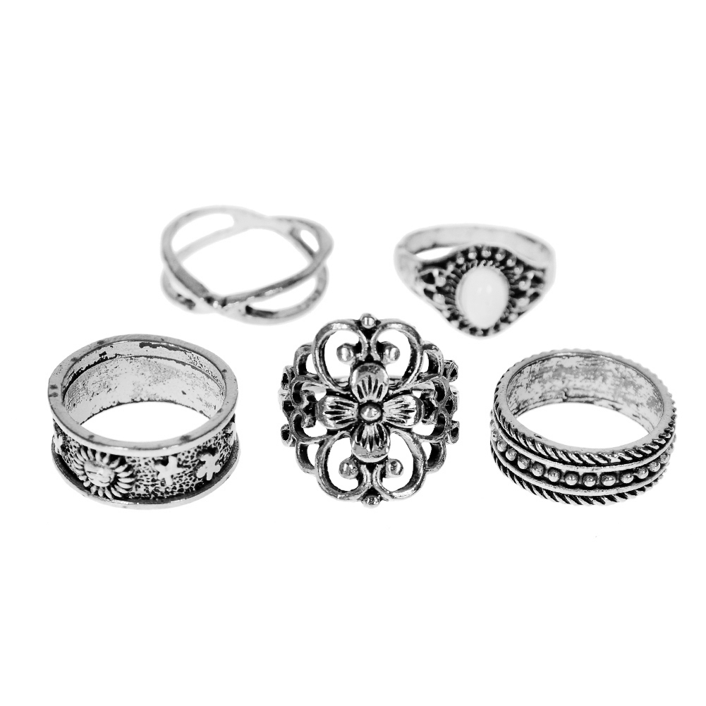 1 Set Gold Silver Knuckle Midi Finger Ring Set Vintage Plain Stack Hollow Flower Band Ring Retro Jewelry JRC0105 7