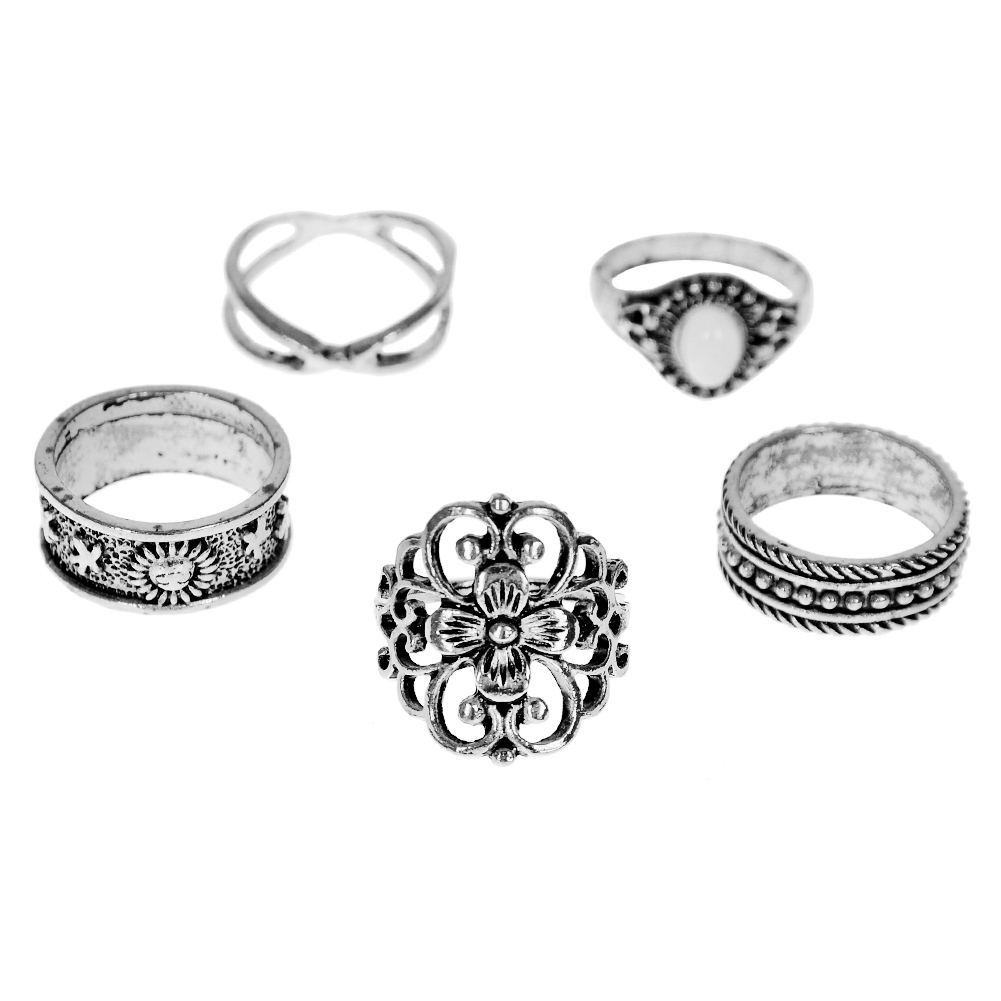 1 Set Gold Silver Knuckle Midi Finger Ring Set Vintage Plain Stack Hollow Flower Band Ring Retro Jewelry JRC0105 8