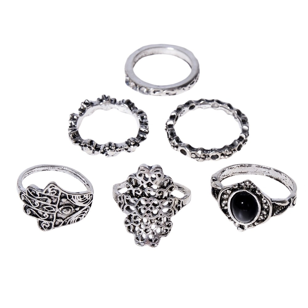 1 Set Womens Punk Antique Alloy Vintage Finger Ring Personality Jewelry Gifts JRC0116 2