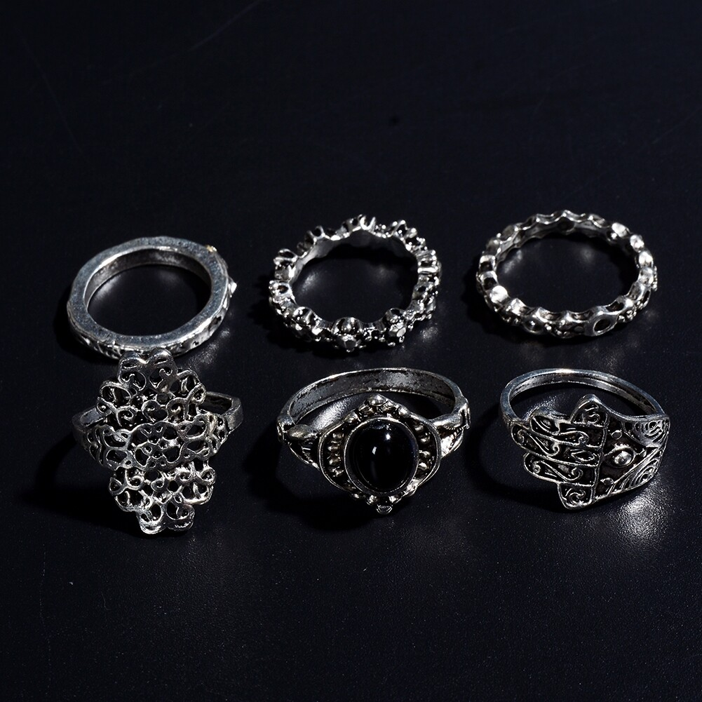 1 Set Womens Punk Antique Alloy Vintage Finger Ring Personality Jewelry Gifts JRC0116 1