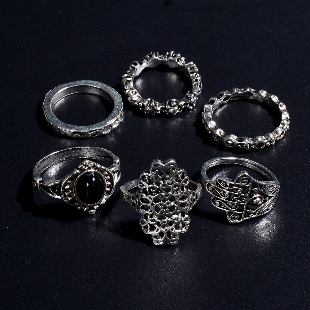 1 Set Womens Punk Antique Alloy Vintage Finger Ring Personality Jewelry Gifts JRC0116 5
