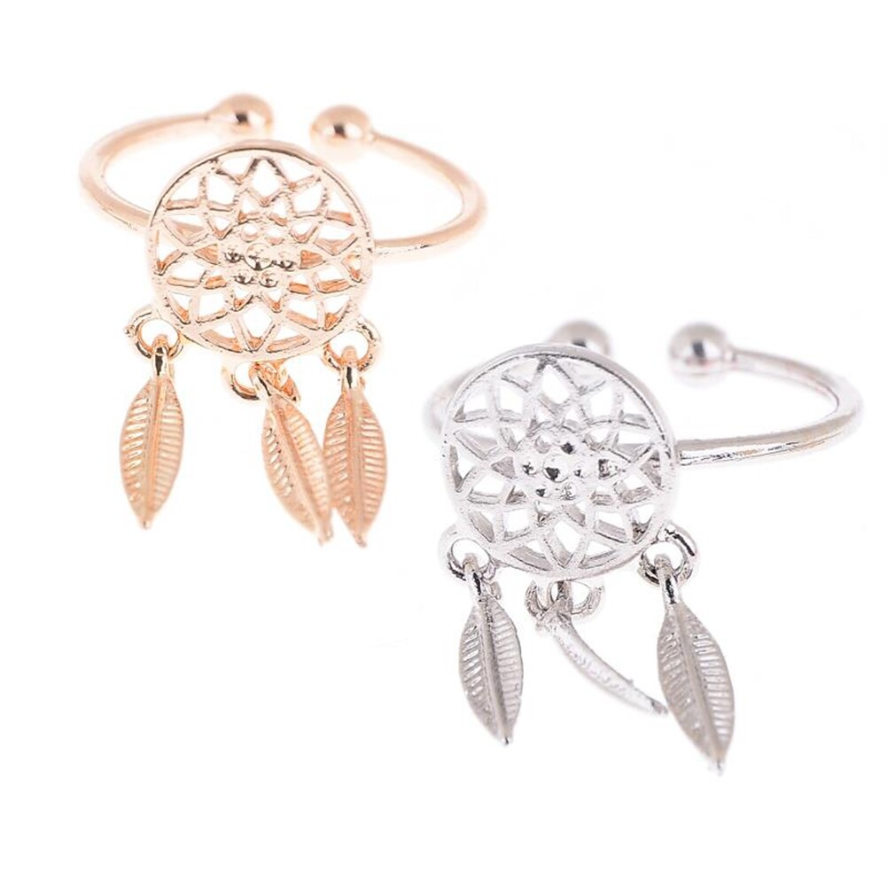 1 Pcs Dreamcatcher Ring Feather Charm Pendant Dream Catcher Wish Ring Adjustable JR14518 1
