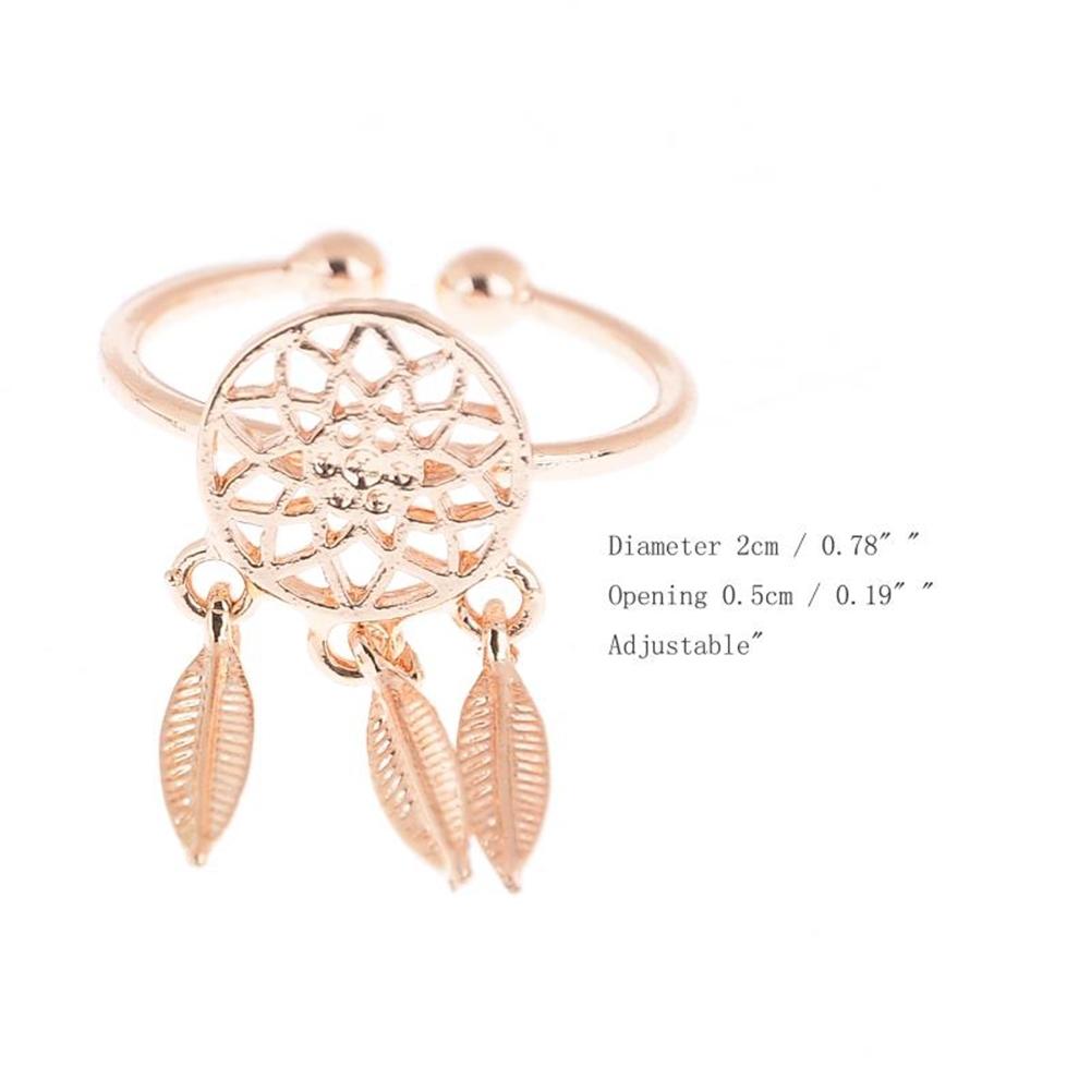 1 Pcs Dreamcatcher Ring Feather Charm Pendant Dream Catcher Wish Ring Adjustable JR14518 7