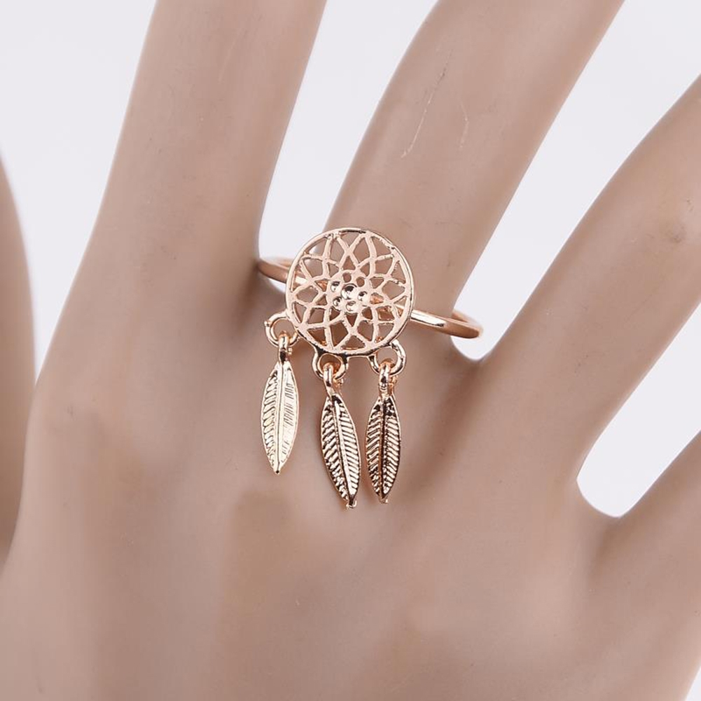 1 Pcs Dreamcatcher Ring Feather Charm Pendant Dream Catcher Wish Ring Adjustable JR14518 3