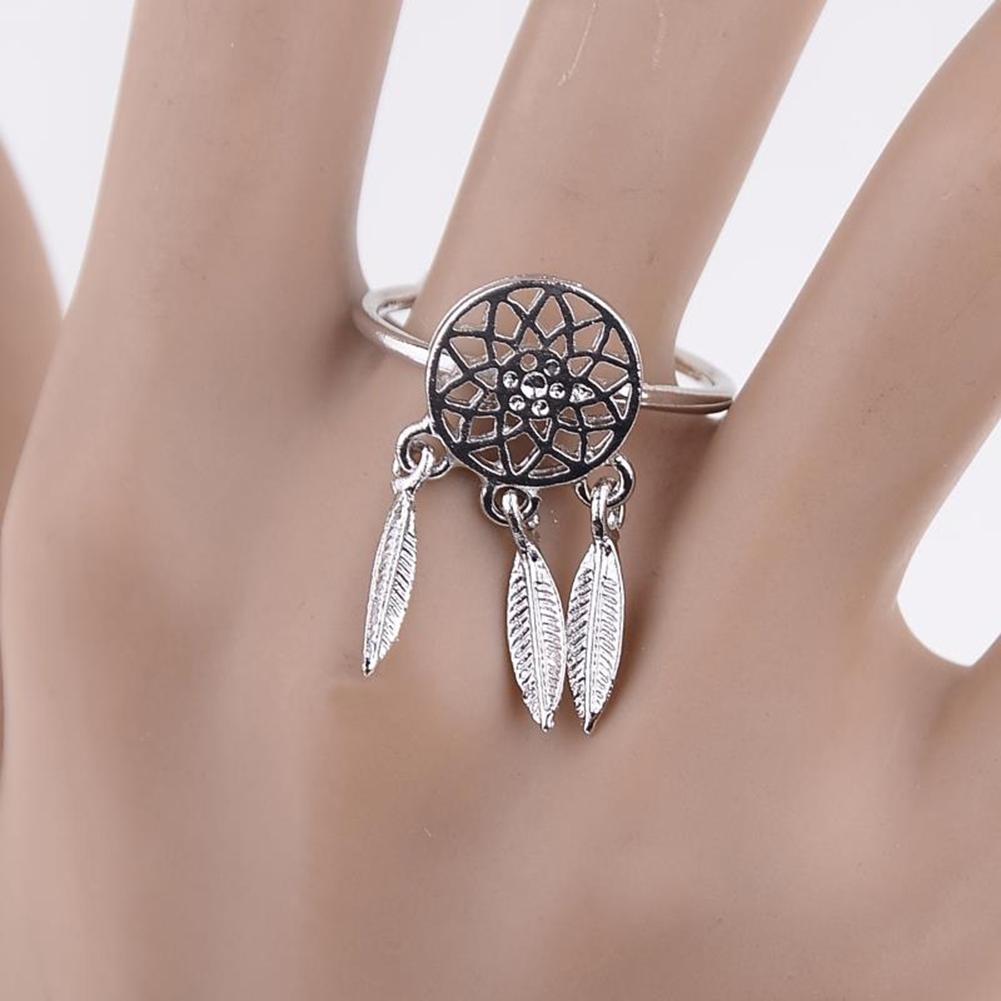 1 Pcs Dreamcatcher Ring Feather Charm Pendant Dream Catcher Wish Ring Adjustable JR14518 6