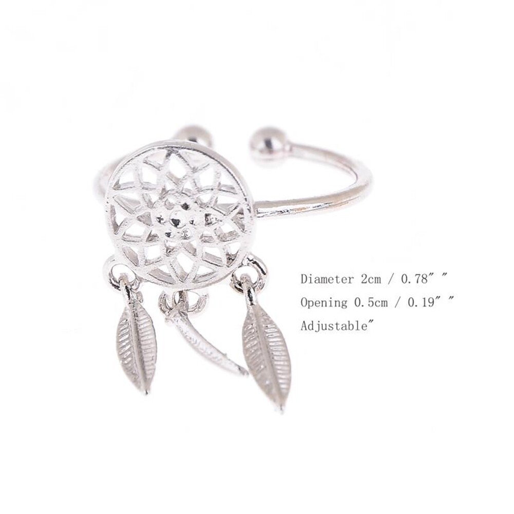1 Pcs Dreamcatcher Ring Feather Charm Pendant Dream Catcher Wish Ring Adjustable JR14518 16