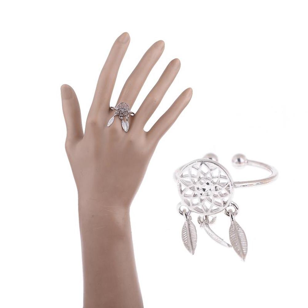 1 Pcs Dreamcatcher Ring Feather Charm Pendant Dream Catcher Wish Ring Adjustable JR14518 2