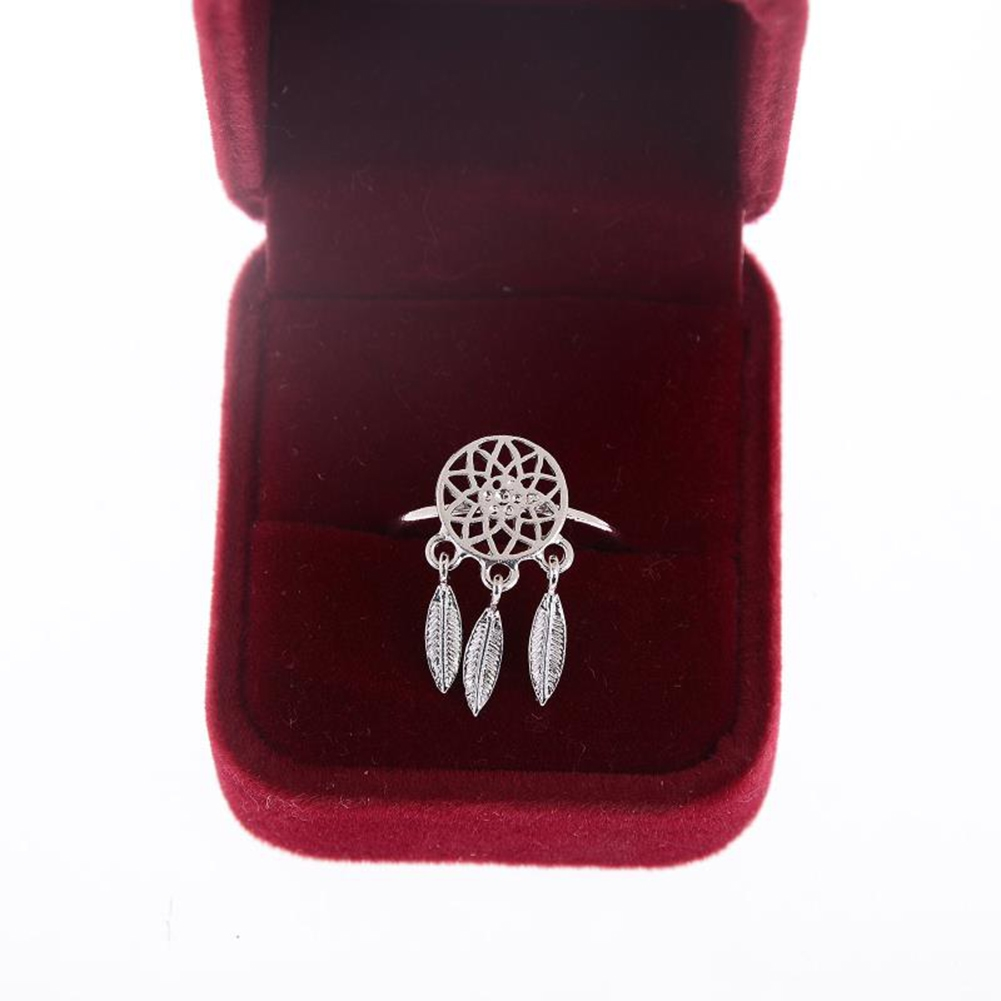 1 Pcs Dreamcatcher Ring Feather Charm Pendant Dream Catcher Wish Ring Adjustable JR14518 4