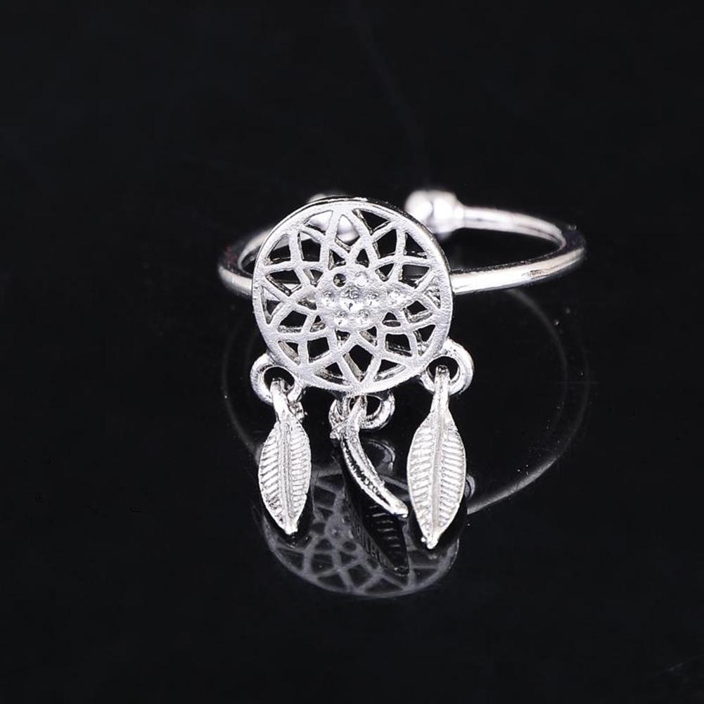 1 Pcs Dreamcatcher Ring Feather Charm Pendant Dream Catcher Wish Ring Adjustable JR14518 19