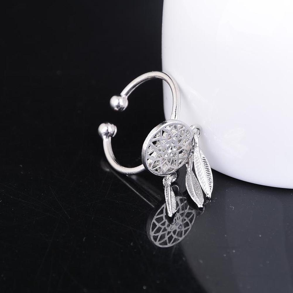 1 Pcs Dreamcatcher Ring Feather Charm Pendant Dream Catcher Wish Ring Adjustable JR14518 20